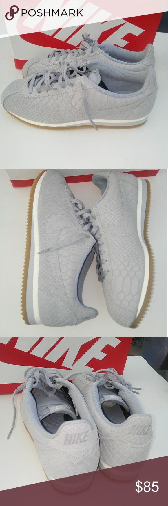 Nike Cortez Leather Prm Brand new in box  100% authentic All over scaly premium leather  EVA sole unit Gum rubber sole  Great fit with your favorite skinny jeans or for the sassy savages that prefer jeggings. All around classic shoe and style for a nice relaxed casual atmosphere.  Ladies will love it, giving you wide smiles. Nike Shoes Sneakers