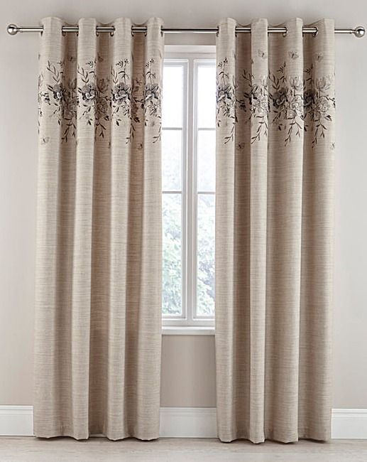 Alba Embroidered Faux Linen Curtains | Ambrose Wilson
