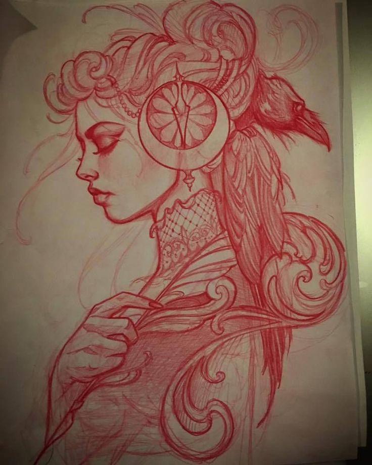 Sketch for todays tattoo. A writer and a raven insta: @jeffnortontattoo
