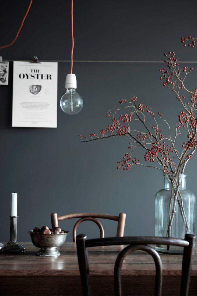 Een mooie, donkere en winterse eethoek. Je leest het op http://www.stijlhabitat.nl/inspiratiezaterdag-no-20/ Eethoek, blauw, grijs, rood, hout, diningroom, blue, grey, red, wood, Scandinavian, Nordic