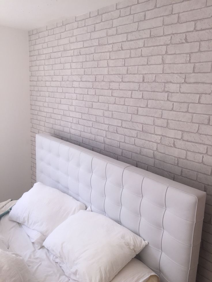 Off white brick effect wallpaper in my teenagers bedroom.  Finished decorating today and now ready to dress the room   #brick #wall #wallpaper
