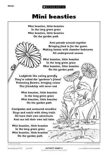 Use this rhyme to discuss different minibeasts and their habitats with the children. It can also be read before a minibeast hunt, or role-play session, where children try to move like different insects.