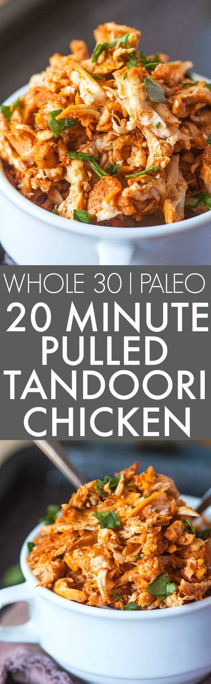 20 Minute Stovetop Pulled Tandoori Chicken (Whole 30, Paleo)- Whole30 Friendly juicy, moist and EASY pulled tandoori chicken perfect for a low carb, high protein and flavorful meal- Lunch, dinner and freezer friendly! {paleo, gluten free, whole30}