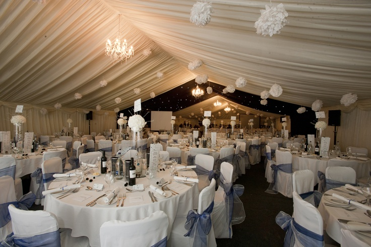 The Winter themed Marquee, complete with snowball mobiles.