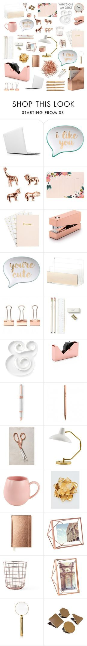 """copper rose desk"" by crystalliora ❤ liked on Polyvore featuring interior, interiors, interior design, home, home decor, interior decorating, Lenovo, Rosanna, Rifle Paper Co and Tom Dixon"