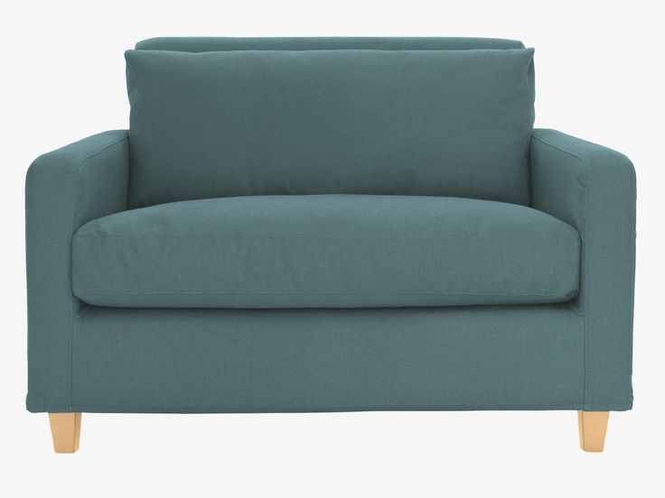CHESTER BLUE Fabric Teal Blue Compact Sofa Oak Stained Feet