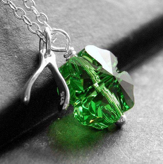 Trébol verde collar colgante de encanto la Wishbone plata