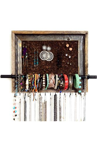 use two hooks on side to hold dowl rod to put bracelets on. add hooks like bow holder at bottom for necklaces and put earrings in frame section.