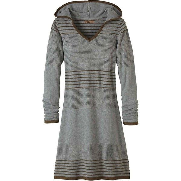 Prana Women's Mariette Dress ($69) ❤ liked on Polyvore featuring dresses, heather grey, sleeved dresses, long sleeve sweater dress, v-neck dresses, prana and long-sleeve sweater dresses