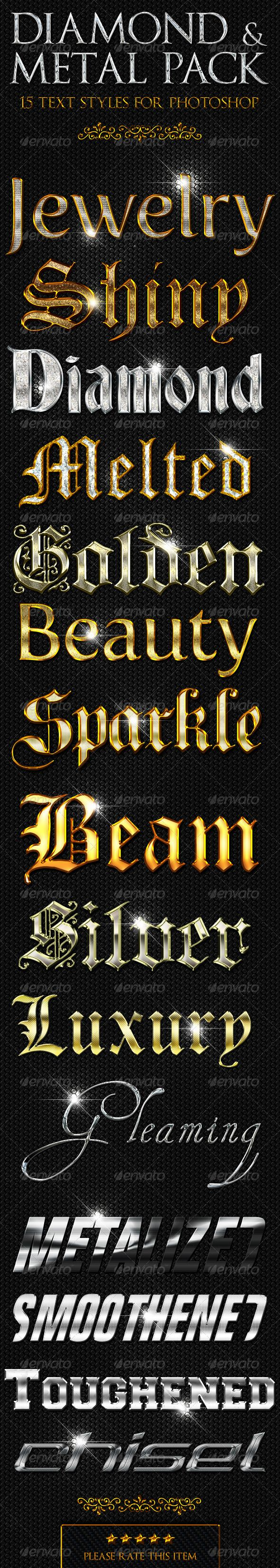 """15 Diamond & Metal Text Styles for Photoshop,"" by ""valecf1"" sold exclusively at Envato."