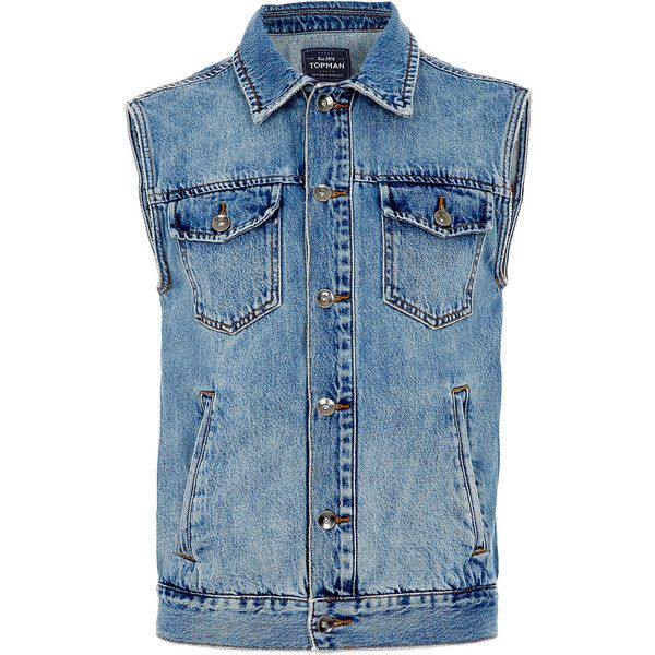 TOPMAN Mid Wash Denim Gilet ($25) ❤ liked on Polyvore featuring men's fashion, men's clothing, men's outerwear, men's vests, denim, jackets, men, vests, shirts and mens gilet