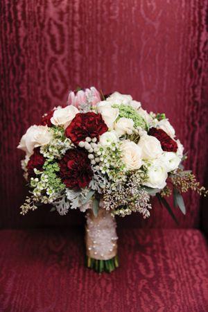 Wedding Colors | Maroon and Cream Bouquet | Wedding ...