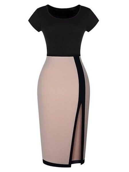 Alluring Slit Round Neck Assorted Color Bodycon-dress
