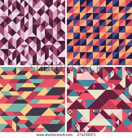 Set of colorful geometric seamless patterns with triangles. #geometricpattern #vectorpattern #patterndesign #seamlesspattern
