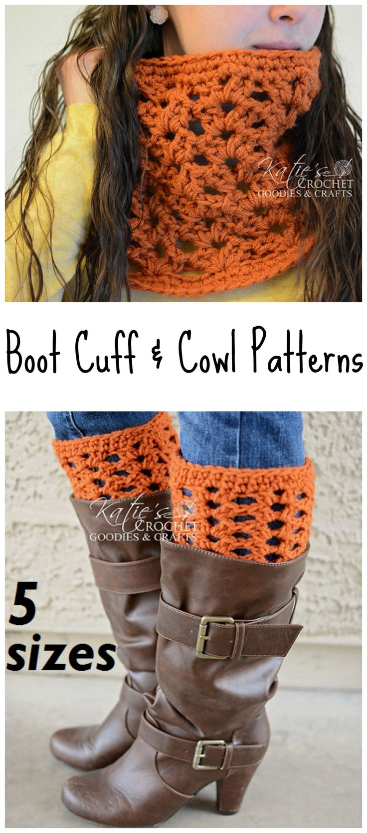 Boot Cuff & Cowl Pattern Set by Katie's Crochet Goodies