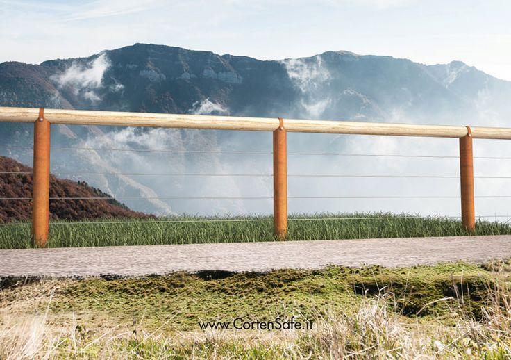 #Staccionata Stelvio in acciaio #Corten, con corrimano cilindrico fissato ai sostegni in Corten o legno. Adatta per realizzare piste ciclabili o #parapetti.
