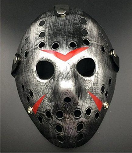 Kadonle The 13th Horror Hockey Jason Vs. Freddy Mask Halloween Costume Prop (Sliver-Black) @ niftywarehouse.com