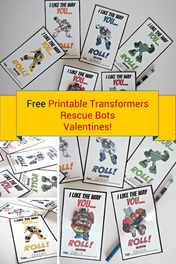 FREE PRINTABLE TRANSFORMERS RESCUE BOTS VALENTINES!  Print these off and use an X-Acto knife in order to insert a pencil, sucker or cupcake ring!  What a fun idea for the Transformers lovers.  From @gogrowgo www.gogrowgo.com
