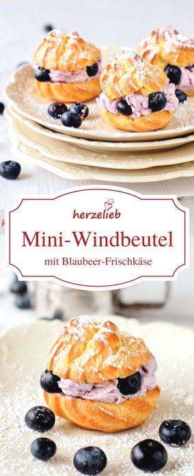 Rezept für Windbeutel mit Blaubeer-Frischkäse. Mit dem gleichen Rezept kannst du auch Eclairs oder Profiteroles backen!