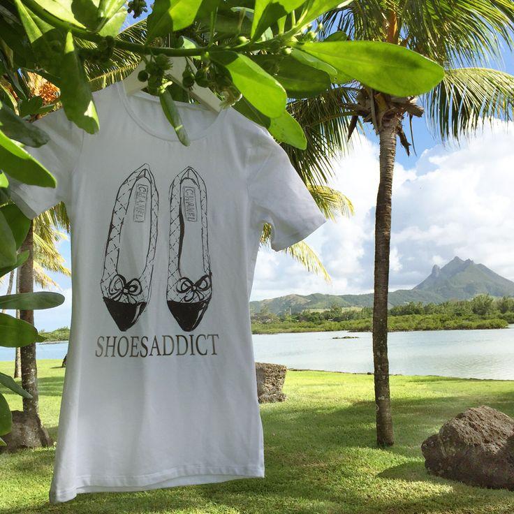 """Дизайнерские женские футболки """"Shoes Addict. Chanel"""", размеры XS, S, M, L, XL, 2XL. Состав 95% хлопок, 5% эластан. Цена 990 руб"""