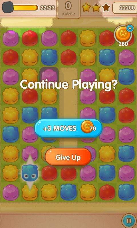 Jelly Splash by Wooga - Out of Moves Screen  - Match 3 Game - iOS Game - Android Game - UI - Game Interface - Game HUD - Game Art
