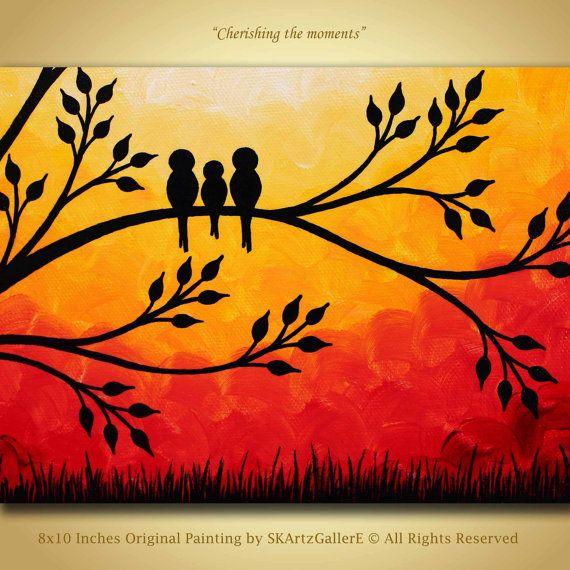 Original birds on tree painting on 8x10 inches gallery wrapped canvas. Title: Cherishing the moments Size - 8x10 Inches and about 0.75 inches thickness Gallery wrapped Canvas Materials: Acrylic, Gallery wrapped Canvas, Varnish Dominant Colors - Yellow, Orange, Red, Black Original family of birds painting in sunset. Signed in the front and back, dated and titled in the back. Sides painted black and the entire painting is finished off with gloss varnish for protection from UV rays and dust...
