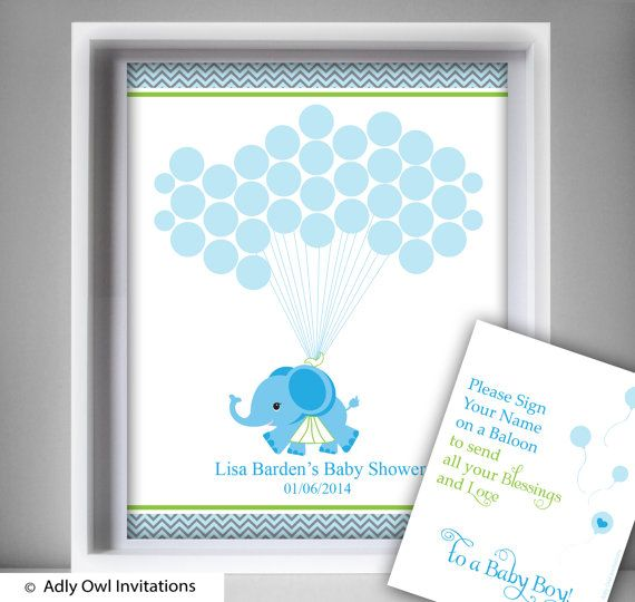 Boy Elephant Guest Book Printable By Aoprintablesforkids