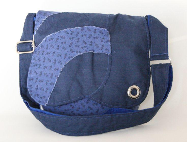 Sac messager bleu  Sac à bandoulière ajustable  Sacoche bohème  Sacoche pour fillette de la boutique Mafelou sur Etsy