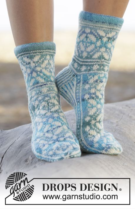 "Knitted DROPS socks with Norwegian pattern in ""Fabel"". Size 35 - 43 ~ DROPS Design"