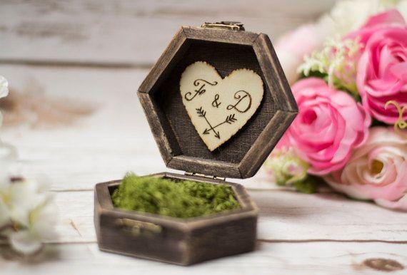 Rustico anello nuziale casella Moss anello portatore cuscino Box anello titolare Moss anello scatola personalizzata anello titolare