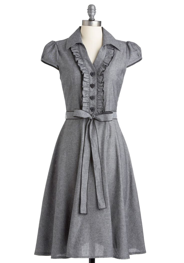 Want.     About the Artist Dress - Grey, Solid, Bows, Buttons, Ruffles, Casual, A-line, Cap Sleeves, Spring, Summer, Fall, Shirt Dress, Long