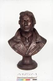 Bust, Sir Charles Kingsford Smith, plaster / bronze, made by Thelma Dahle, Australia, 1934