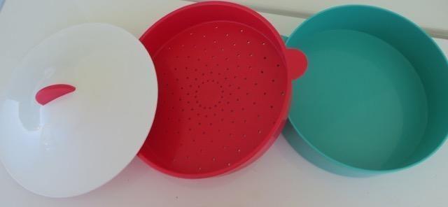 Tupperware 3 Piece Microwave Steamer - Green, Pink & White - 9 Inch Diameter in Home, Furniture & DIY, Appliances, Small Kitchen Appliances | eBay!