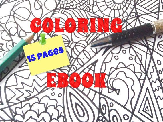 Coloring Ebook 15 Pages For Adult Zentangle Colouring Intricated Digital  Diy Meditation Art Therapy Doodle Art Stress Relief Lasoffittadiste