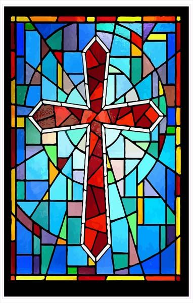 stained glass Christmas and Easter backgrounds and borders | Etchings: Crimson Stained Glass Cross with a Multi-Colored Background ...