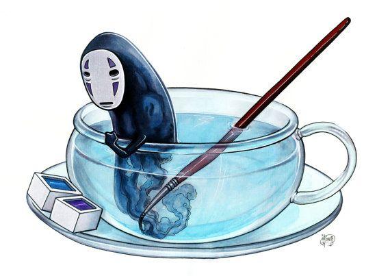 "J.Giner Illustration: Kaonashi (No-face of ""Chihiro's travel) (Print A3,limited)"