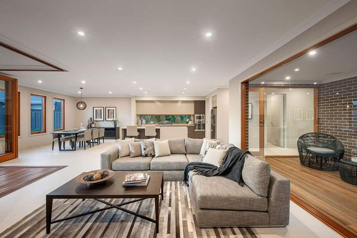 The spectacular living area is spacious and homely #weeksbuildinggroup #newhome #homedesign