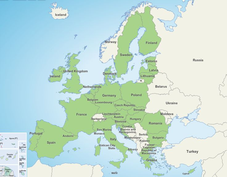 Members of the European Union. From 38 maps that explain Europe by Matthew Yglesias published September 8, 2014.