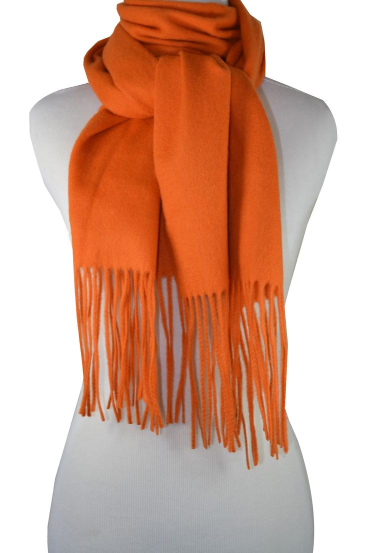 Soft Cashmere & Wool Blend Orange Scarf - just perfect for fall.