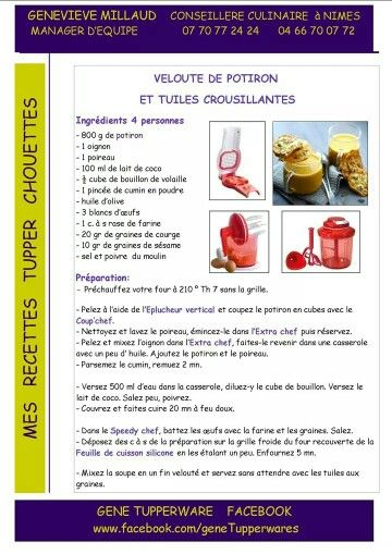 Tupperware - Velouté de potiron et tuiles croustillantes