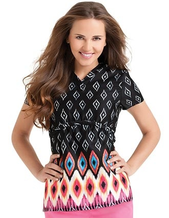If your facility allows scrubs with prints... we think this is one of the coolest scrub tops we've seen in awhile! (MoRockin Nights print with a flattering crossover banded v-neck and short set-in sleeves)