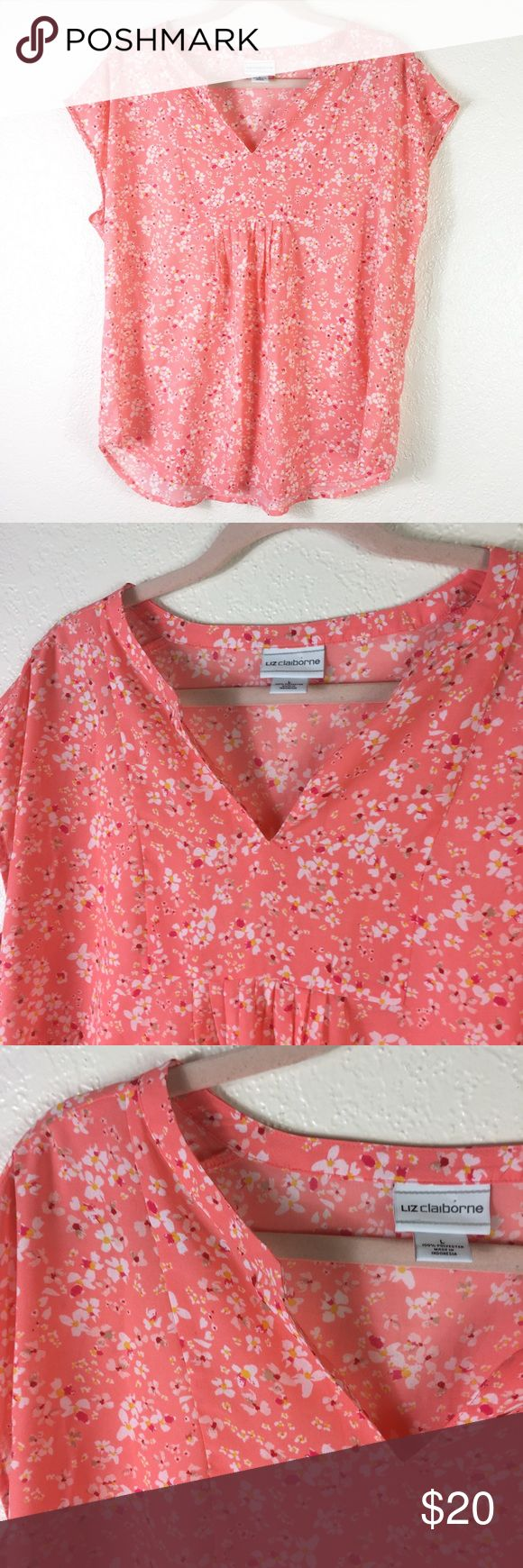 [Liz Claiborne] Floral smock top Flower print top. No Trades! Offers Welcome Liz Claiborne Tops Blouses