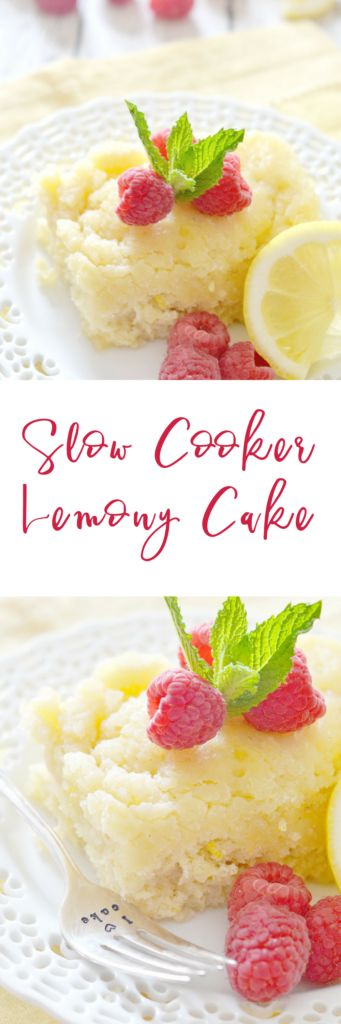 This Slow Cooker Lemony Cake is the perfect combination of tangy and sweet. Serve it warm right out of your slow cooker - you can garnish it with whipped cream and berries, but it's just as tasty on its own! | slow cooker dessert recipes | crockpot dessert recipes | how to make cake in the slow cooker | lemon dessert recipes | homemade dessert recipes || Kitchen Meets Girl