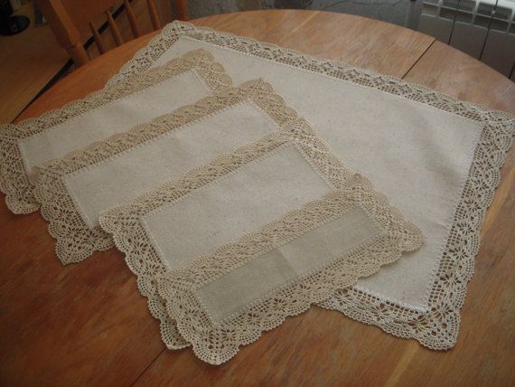 A ste of five rectangular cotton doilies by BulgarianEmbroidery