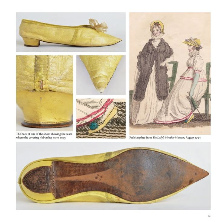 Shoes from 1800 and fashion plate from 1799