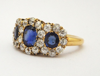 Art Deco Triple Sapphire and Diamond Ring from Anthea AG Antiques.