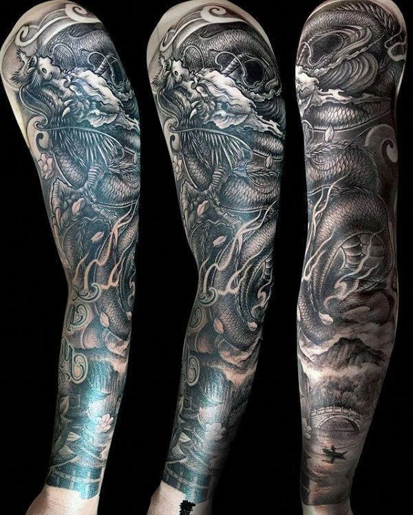 Mens Chinese Dragon Full Sleeve Tattoo Design With Shaded Black And Grey Ink Popularsleevetatt Half Sleeve Tattoos Color Sleeve Tattoos Dragon Tattoos For Men