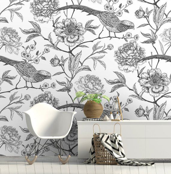 Removable Wallpaper Peony And Pheasants Self Adhesive Etsy Classic Wallpaper Grey And White Wallpaper Modern Wallpaper Designs