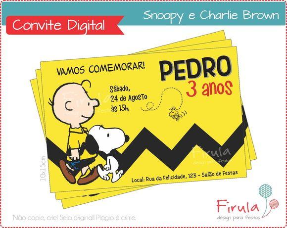 Convite Digital Snoopy | Firula Festas | Elo7