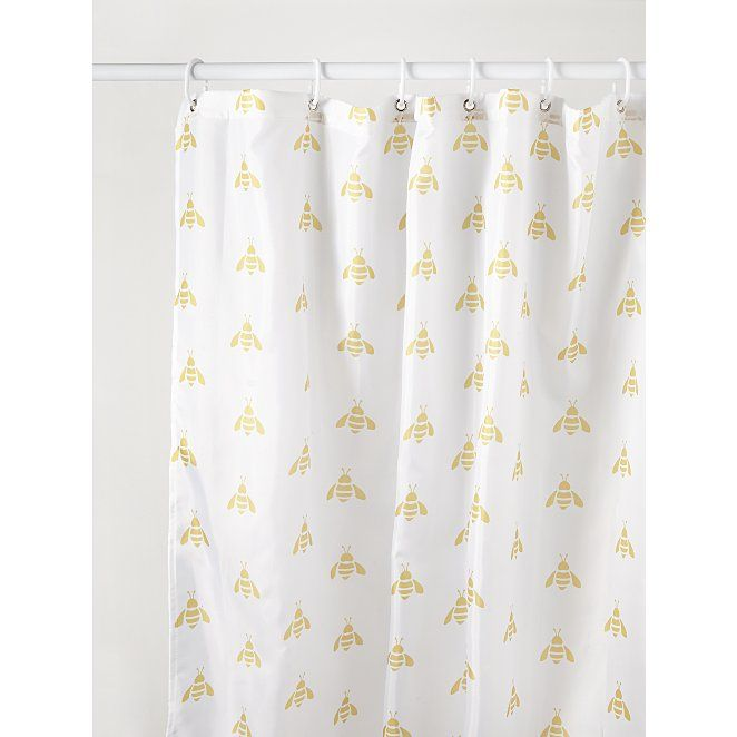 Yellow And White Bee Print Shower Curtain Home George In 2020 Printed Shower Curtain Yellow Shower Curtains Shower Curtain